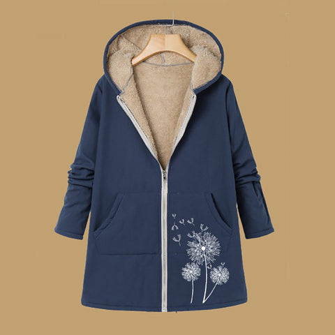 Women Printed Long Sleeve Hooded Coats