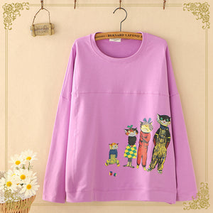 Cartoon Creative Printing Round Neck Blouses