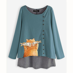 Cartoon Striped Women Loose Long Sleeve Blouses
