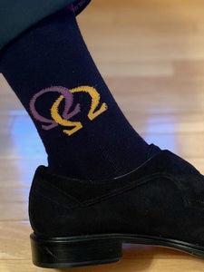 Socks - Black with Purple  & Gold  Interlocking Omegas