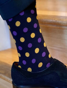 Socks - Black with Purple and Gold  Polka Dots