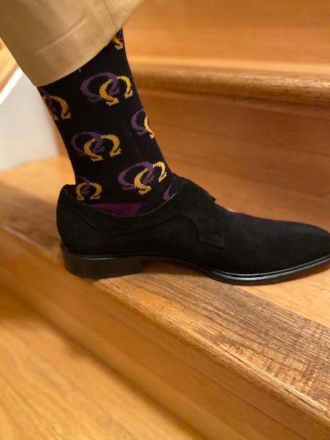 Socks - Black with multiple Purple  & Gold Interlocking Omegas