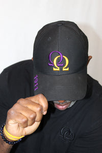 Cap - Black w/Purple & Gold Interlocking Omegas