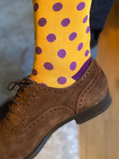 Socks - Gold with Purple Polka Dots