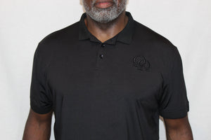 Polo Shirt - Black Interlocking Omegas on Black