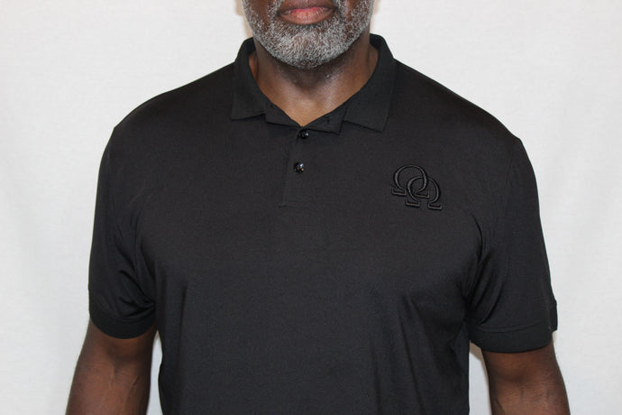 Polo Shirt - Black Interlocking Omegas on Black (Athletic Fit)