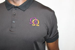 Polo Shirt  - Purple & Gold Interlocking Omegas on Black (Athletic Fit)