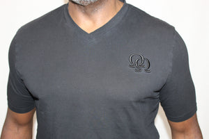Tee Shirt - Black Interlocking Omegas on Black