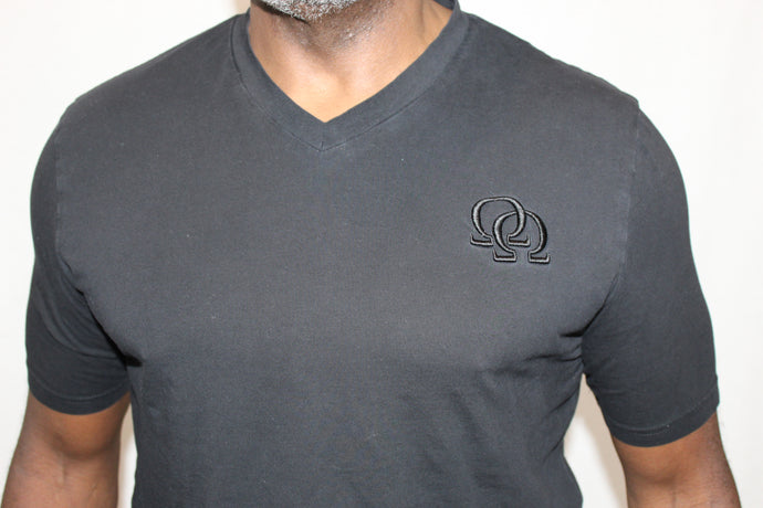 Tee Shirt - Black Interlocking Omegas on Black (Athletic Fit)