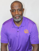 Load image into Gallery viewer, Polo Shirt  - Interlocking Gold Omegas on Purple (Athletic Fit)