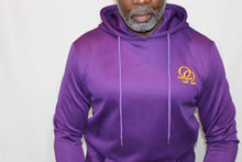 Load image into Gallery viewer, Hoodie - Purple with Gold Interlocking Omegas