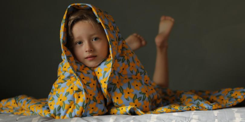 Kid Hiding Under A Flower YNM Weighted Blanket