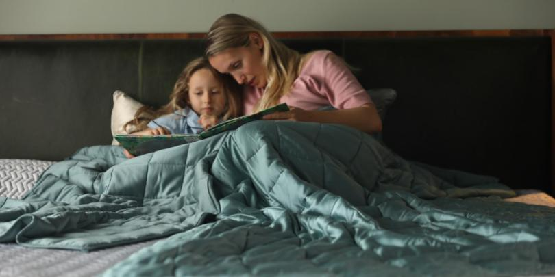 Mother and Daughter Under Two Fresh Mint YNM Weighted Blankets