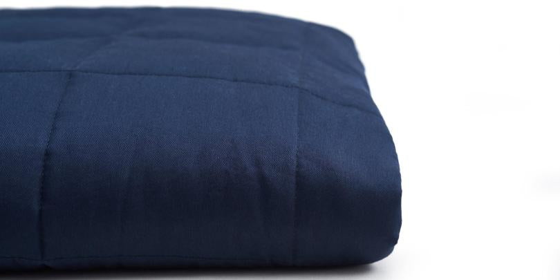Navy Blue Weighted Blanket Folded