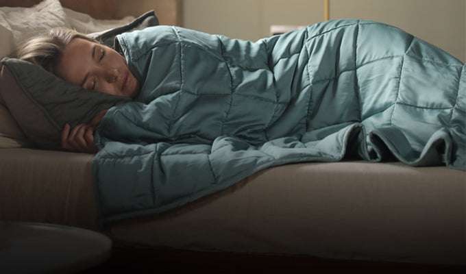 Woman Under Green YNM Cooling Weighted Blanket
