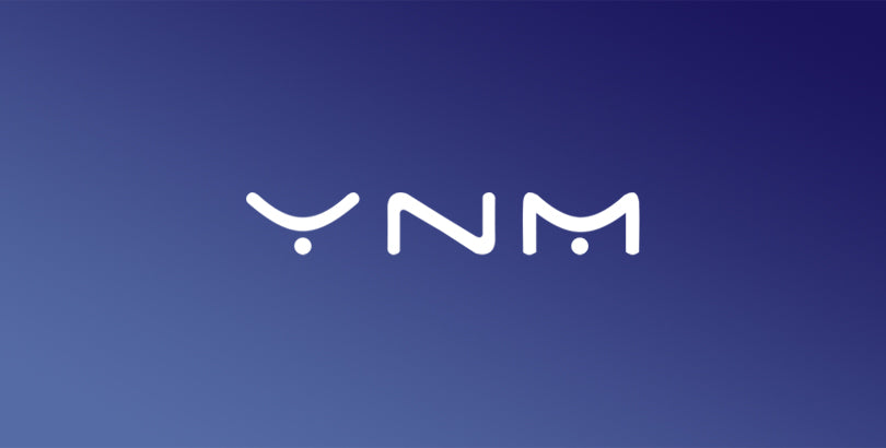 YNM White Logo on Blue Gradient Background
