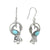 Larimar Solid 925 Sterling Silver Peacock Dangle Earrings Jewelry - YoTreasure