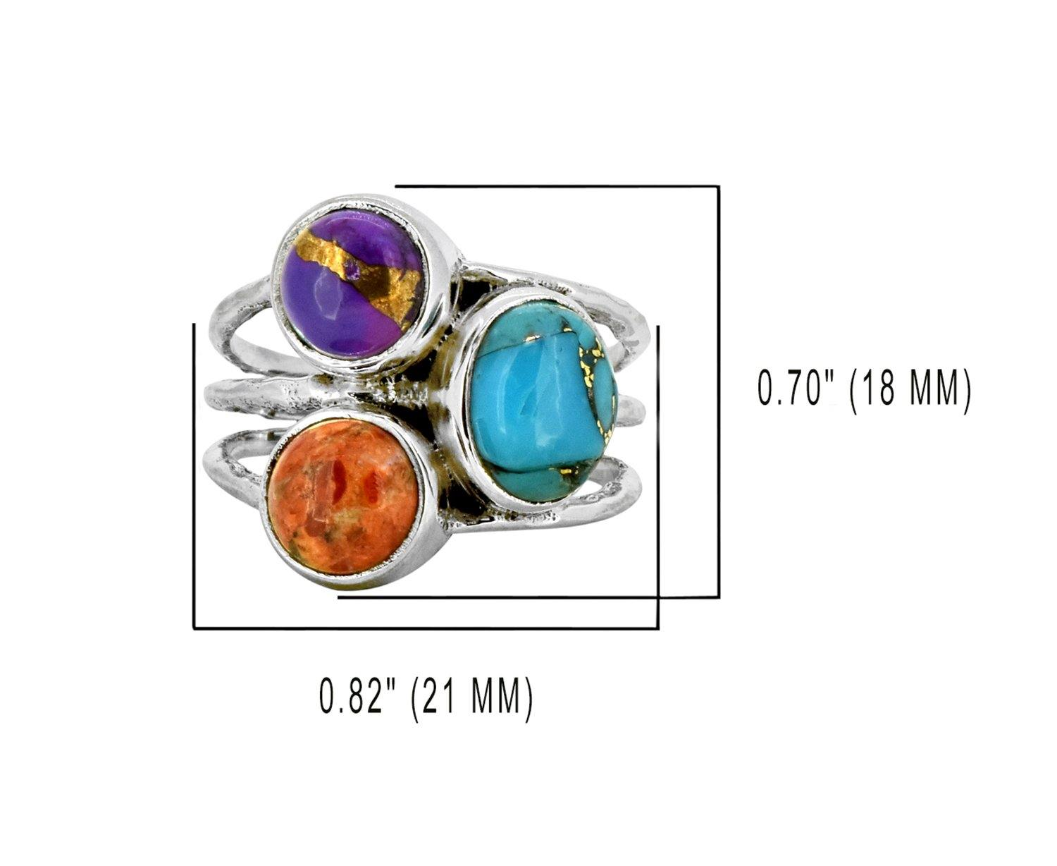 YoTreasure Blue Copper Turquoise Solid 925 Sterling Silver Designer Ring Sizes 5,6,7,8,9,10