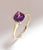 African Amethyst White Topaz Solid 10K Yellow Gold Gemstone Ring - YoTreasure