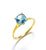 Sky Blue Topaz White Topaz Solid 10K Yellow Gold Gemstone Ring - YoTreasure