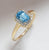 Swiss Blue Topaz White Topaz Solid 10K Yellow Gold Gemstone Ring - YoTreasure