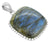 Solid Sterling Silver Labradorite Gemstone Long Chain Pendant Necklace Jewelry, 18