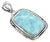 Fashion Women Chain Necklace Jewelry Solid 925 Sterling Silver Natural Larimar Gemstone Pendant, 18