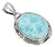 Women Chain Necklace Jewelry .925 Sterling Silver Natural Larimar Gemstone Pendant Gift for Her, 18