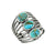 Turquoise Solid 925 Sterling Silver Multi Layer Gemstone Ring - YoTreasure