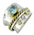 Blue Topaz Solid 925 Sterling Silver Brass Two Tone Designer Ring Jewelry - YoTreasure