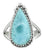 Natural Larimar Ring Solid 925 Sterling Silver Jewelry - YoTreasure
