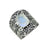Moonstone Solid 925 Sterling Silver Designer Hammered Ring Jewelry - YoTreasure