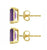 Natural Amethyst Solid 10K Yellow Gold Stud Earrings - YoTreasure