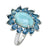 6.40 Ct. Larimar London Blue Topaz Solid 925 Sterling Silver Flower Cluster Ring Jewelry - YoTreasure