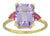 Pink Amethyst Tourmaline Solid 14K Yellow Gold Ring 4.7 Ct Emerald Cut - YoTreasure