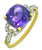 Cushion Cut Purple Amethyst White Topaz Solid 10K Yellow Gold Ring - YoTreasure