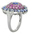 Blue Tanzanite Pink Sapphire Solid 925 Sterling Silver Flower Cluster Ring Jewelry - YoTreasure
