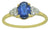 Solid 10K Yellow Gold Oval Blue Kyanite & Round White Zircon Ring - YoTreasure