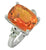 Coated Orange Quartz White Topaz Solid 925 Sterling Silver Ring Jewelry - YoTreasure