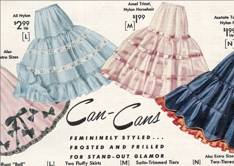 A Vintage Crinoline Ad where they are called Can-Cans! Read more at Tatyana Boutique!