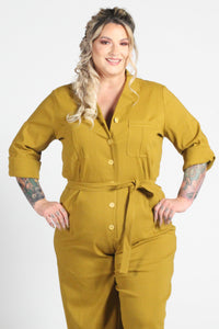 Florence Coverall in Mustard Wide Leg