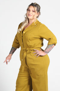 Florence Coverall in Mustard Straight Leg