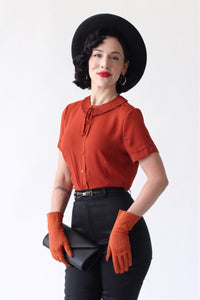 Ingrid 1940s Retro Blouse in Ginger- Also available in Plus Size