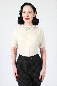 Ingrid 1940s Retro Blouse in Cream - Also available in Plus Size