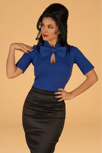 Keynote Blouse in Royal Blue with Detachable Bow