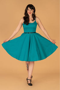 PEGGY RETRO CIRCLE DRESS IN TURQUOISE