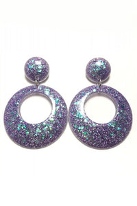 Purple with Green Fleck Glitter Circle Earrings