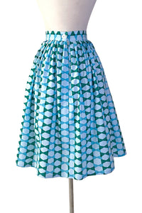 Gloria Skirt in Blue Lagoon Bow Ties Print