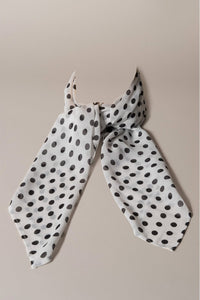 Scarf White With Black Polka-dots