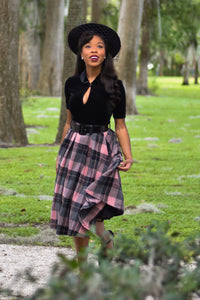 Tabitha Skirt & Scarf in Pink/Black